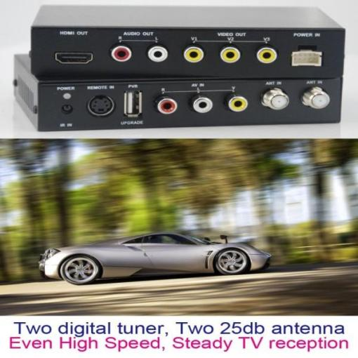 DVB-T2100HD Car DVB-T MPEG4 H.264 2 tuner Digital TV receiver 2 tuner 2 antenna 4