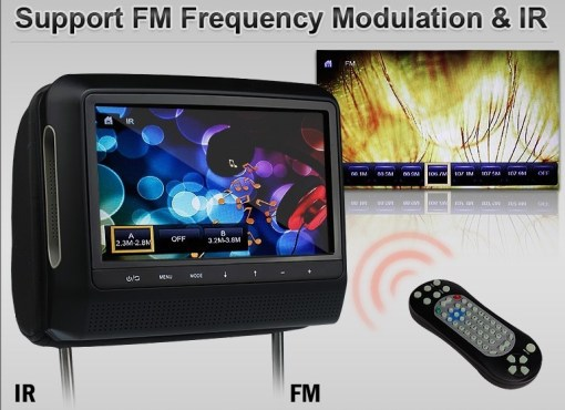 9 inch Headrest DVD touch screen USB SD Game MP5 player, IR FM 2 Speaker, 8-32 bits Game 4