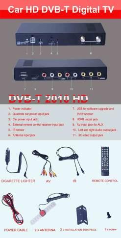 Car DVB-T Receiver MPEG4 H.264 2 tuner 2 diversity antenna Booster Recorder DVBT 21