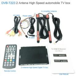 Car DVB-T2 DVB-T Multi PLP Digital TV Receiver 2 Antenna Diversity Dual Aerial H264 MPEG4 HD High Speed FTA STB 6