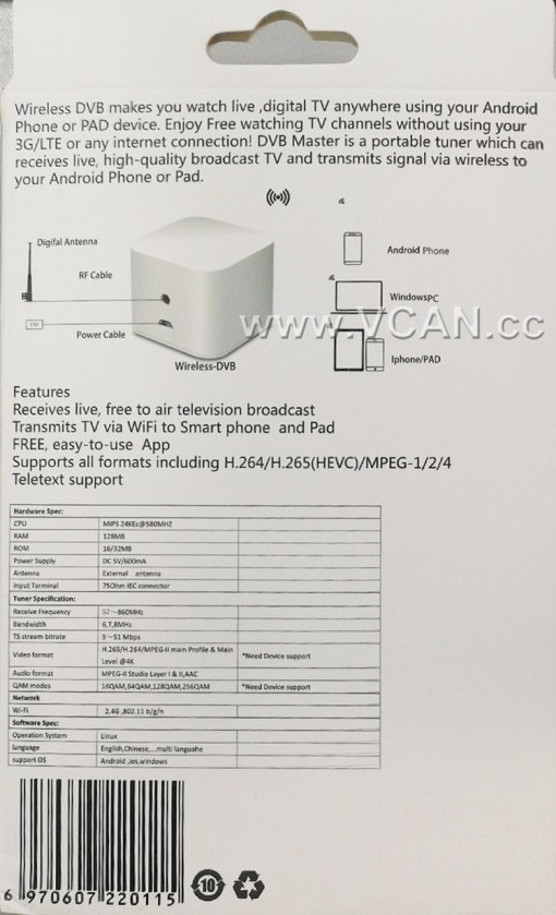 WIFI ISDB-T DVB-T2 Wireless Digital TV box for Android phone or Pad for Car outdoor Home 3