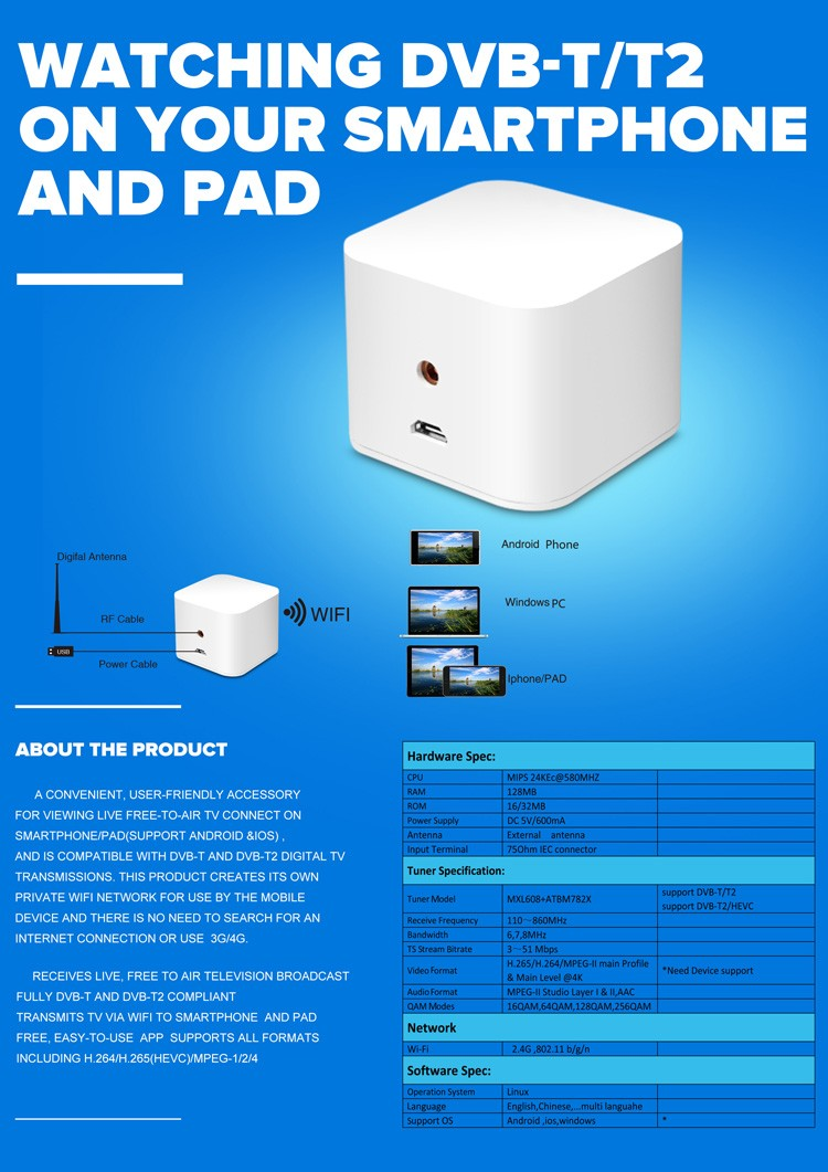 WIFI ISDB-T DVB-T2 Wireless Digital TV box for Android phone or Pad for Car outdoor Home 6