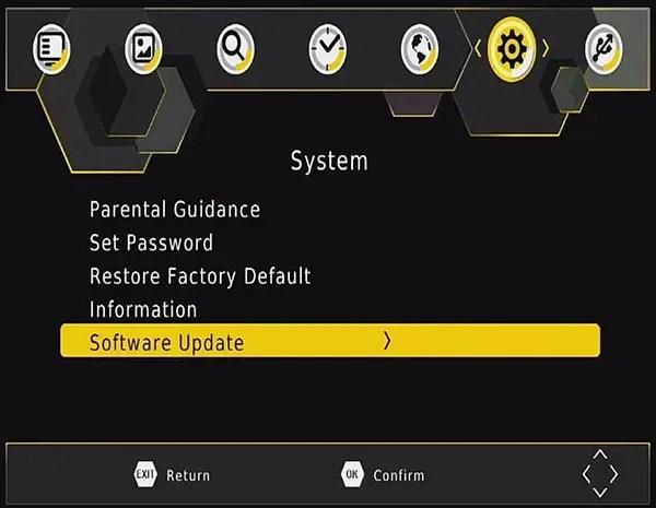 DVB-T2 software upgrade firmware update