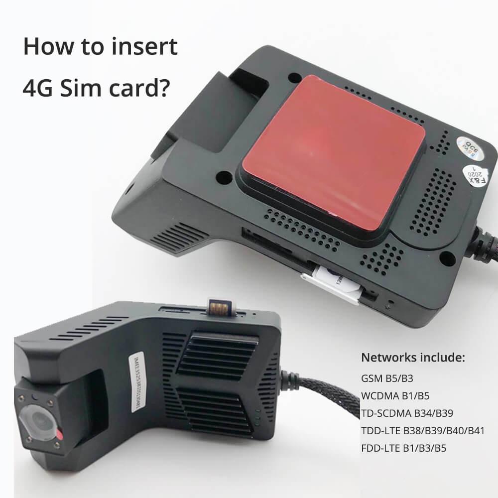 4G SIM card dual lens Dashcam DVR