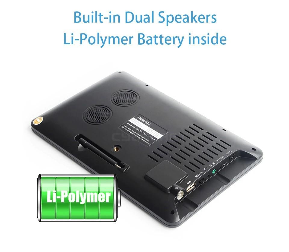 9 Inch HD Portable Digital TV DVB-T2 ATSC ISDB-T TDT Analog Mini Small Car Television Support USB SD Card MP4 AC3 28
