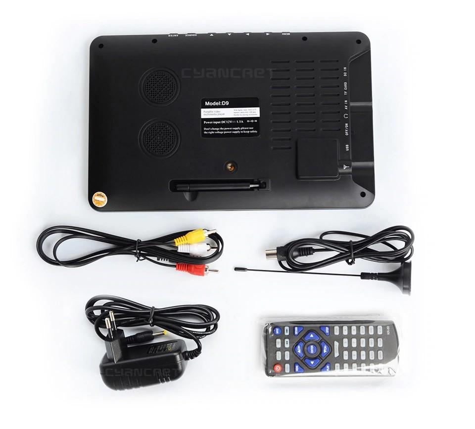 9 Inch HD Portable Digital TV DVB-T2 ATSC ISDB-T TDT Analog Mini Small Car Television Support USB SD Card MP4 AC3 30