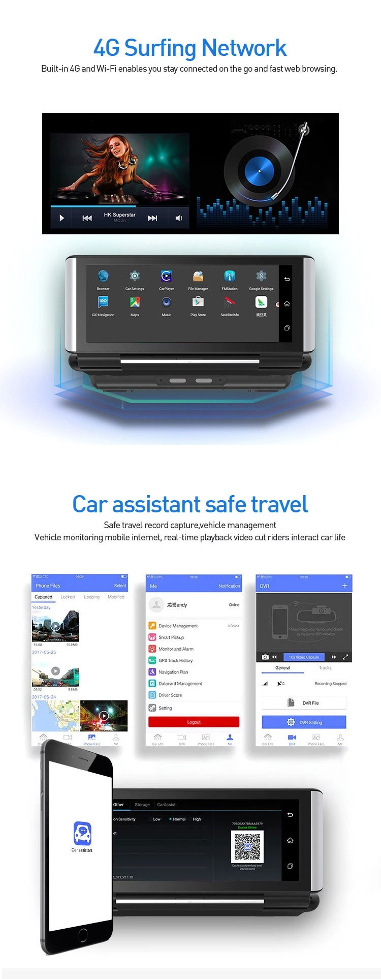 4G DVR Android 8 WIFI GPS Car rearview camera 6.86 inch GPS G-sensor Auto Recorder Dashboard 2+32GB  2