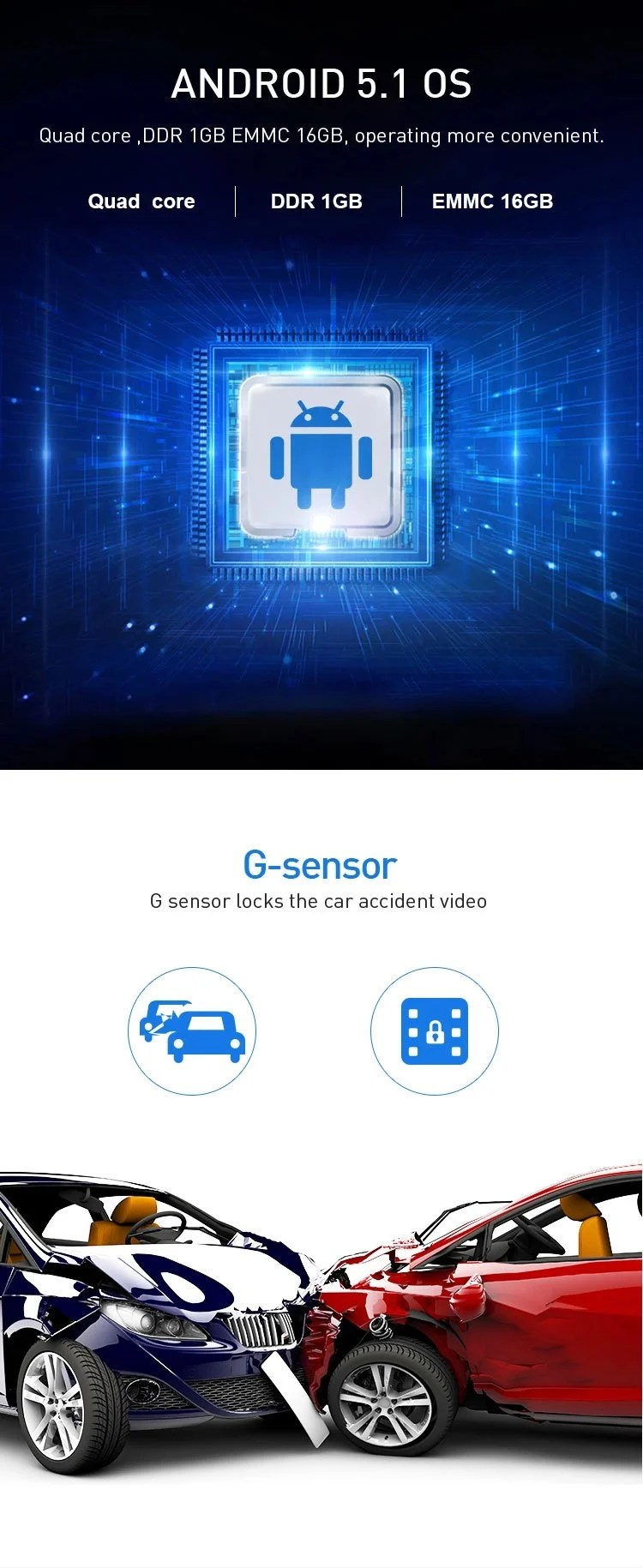 4G DVR Android 8 WIFI GPS Car rearview camera 6.86 inch GPS G-sensor Auto Recorder Dashboard 2+32GB  5