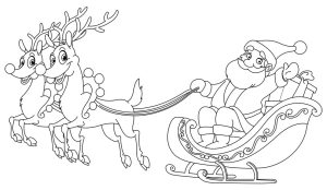 Outlined Santa riding his sleigh