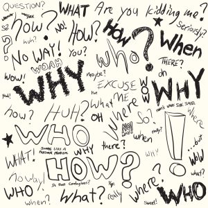 Questions doodled in black ink over white in vector format.