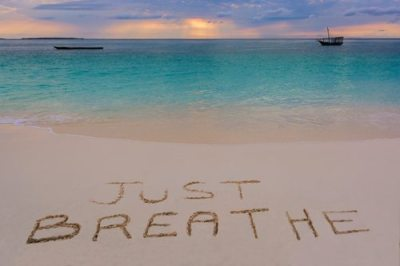 Just breathe sign in Nungwi north of Zanzibar island.Tanzania.