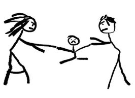 A childlike drawing illustrating divorce with the child be fought over in the middle.