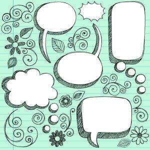 3d sketchy speech bubbles