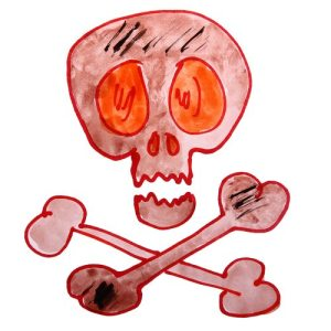 watercolor drawing kids cartoon death on white background