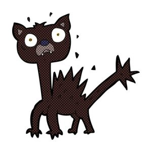 retro comic book style cartoon scared cat