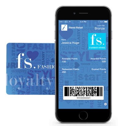 iVend Loyalty on a rewards card and a rewards app on a customer's phone.