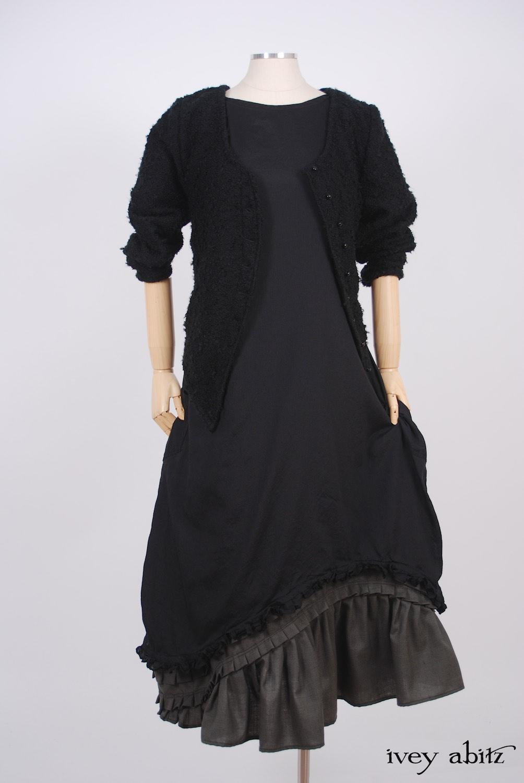 Ivey Abitz - Elliot Jacket in Blackbird Bouclé Knit  - Windhurst Dress in Blackbird Striped Silk Voile  - Windrush Frock in Moonlit Meadow Houndstooth, High Water Length