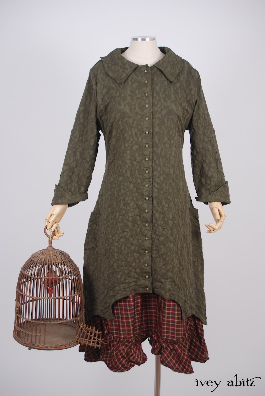 Ivey Abitz - Chittister Duster Coat in Morning Meadow Hemstitch Jacquard  - Tilbrook Frock in Peony Washed Plaid Silk, High Water Length