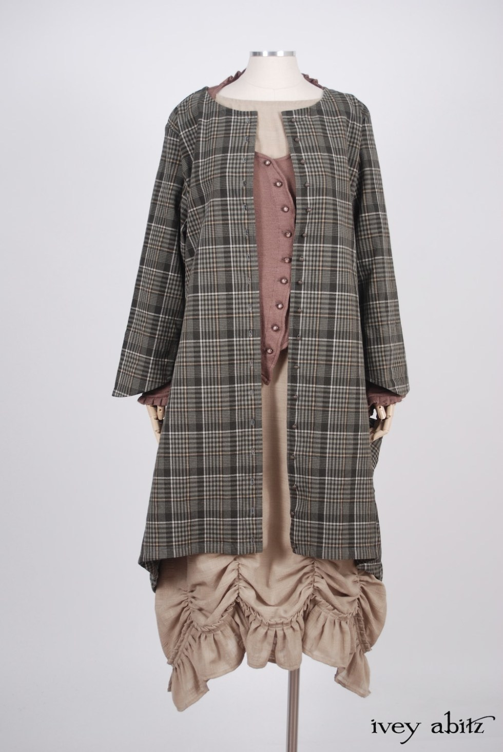 Ivey Abitz - Wildefield Duster Coat in Meadow Stretchy Plaid Cotton, High Water Length - Canterbury Cardigan in Blushed Cashmere Knit  - Edenshire Frock in Blushed Plaid Weave, High Water Length