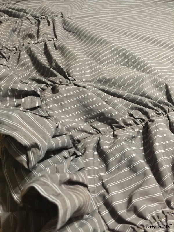 Cozette Frock in Feather Brown Stretchy Striped Cotton by Ivey Abitz
