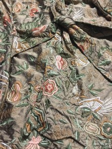 Fairholme vest in birdsong embroidered silk with antique wooden composition buttons, circa early 1900's by Ivey Abitz