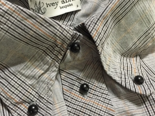 Highlands shirt in sparrow grey plaid poplin by Ivey Abitz