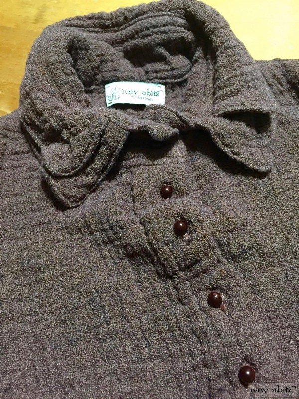 Inglenook vest in hummingbird double layered linen scrim with antique wooden composition buttons by Ivey Abitz