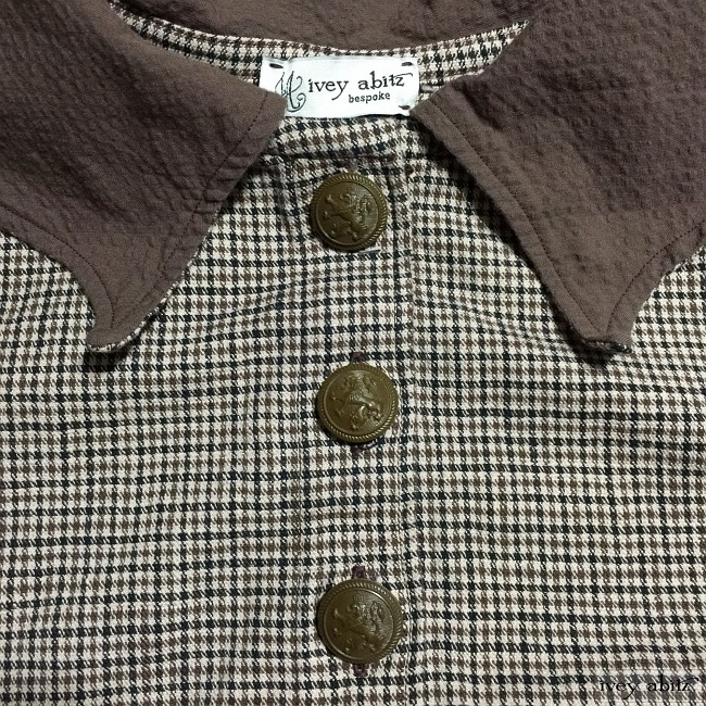 Ivey Abitz Limited Edition Chittister Duster Coat in Tilled Field Checked Twill with Antique Royal Crest Buttons