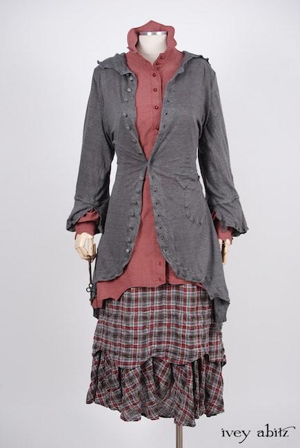 Heraldry Duster Coat in Front Gate Lightweight Linen Knit; Crest Shirt in Red Door Washed Poplin; Heraldry Frock in Red Door Wispy Plaid. Spring 2018 Look 37 - Ivey Abitz Bespoke Clothing