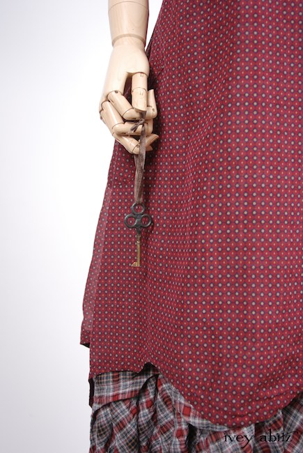 Look 53 - Spring 2018 Ivey Abitz Bespoke - Crest Frock in Red Door Stained Glass Voile; Heraldry Frock in Red Door Wispy Plaid; Heraldry Duster Coat in Front Gate Lightweight Linen Knit. Spring 2018 Look 53 - Ivey Abitz Bespoke Clothing