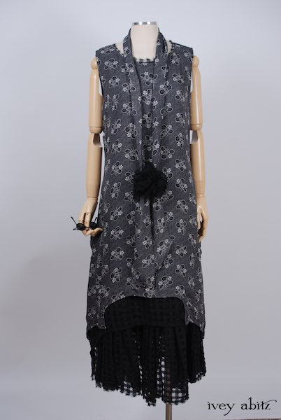 Midsummer Look 14 - Limited Edition Blanchefleur Frock in Black Checked Challis; Chittister Frock in Black Edwardian Floral Silk; Bartholdi Brooch in Black Wispy Silk Voile; Blanchefleur Sash in Black Edwardian Floral Silk by Ivey Abitz