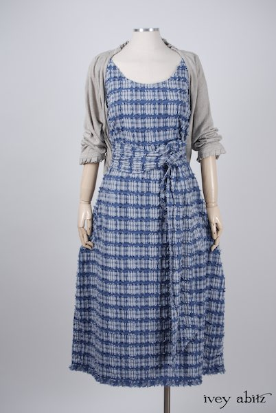 Midsummer Look 19 - Limited Edition Covante Frock in Lake Tufted Plaid Voile; Canterbury Cardigan in Signature Natural Linen Knit; Fairholme Sash in Lake Tufted Plaid Voile by Ivey Abitz