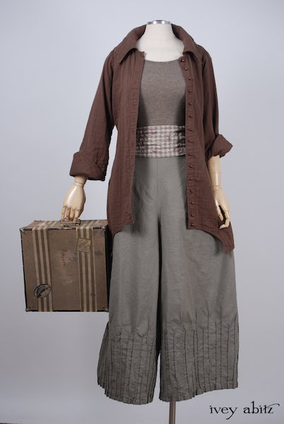 Midsummer Look 22 - Lydia Trousers in Shoreline Stretchy Cotton; Chittister Shirt Jacket in Blushed Double Layered Voile; Fairholme Sash in Earthen Gingham Sprig Cotton Gauze; Cilla Camisole in Flaxseed Featherlight Knit by Ivey Abitz
