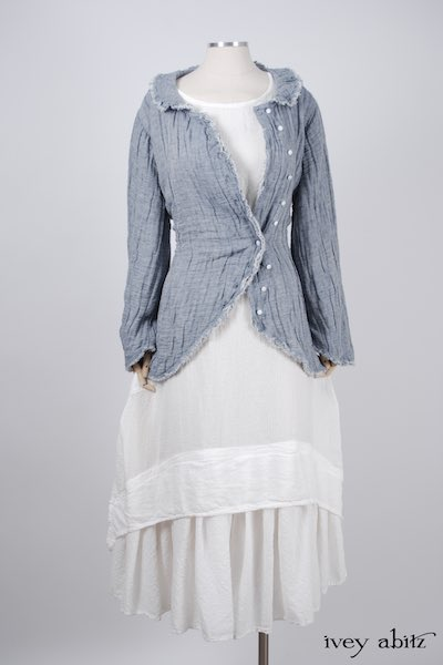 Midsummer Look 28 - Limited Edition Arthur Hill Shirt in Lake Gauze Linen; Blanchefleur Dress in Dove Striped Voile; Cilla Slip Frock in Signature Cream Washed Silk by Ivey Abitz