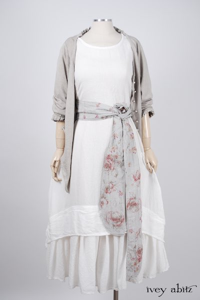 Midsummer Look 39 - Blanchefleur Dress in Dove Striped Voile; Cilla Slip Frock in Signature Cream Washed Silk; Blanchefleur Sash in Shoreline Gingham Crushed Weave; Canterbury Cardigan in Signature Natural Linen Knit by Ivey Abitz