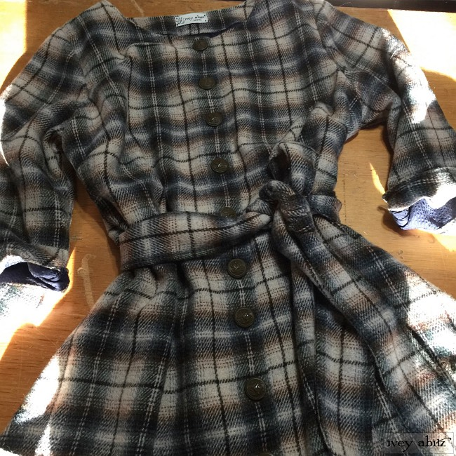 Ivey Abitz Wildefield Duster Coat in Tilled Field Plaid Wool with Antique Royal Crest Buttons