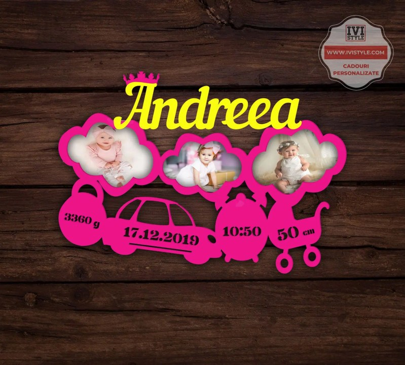 Rama Foto Personalizata Bebelusi nr 29 roz + galben