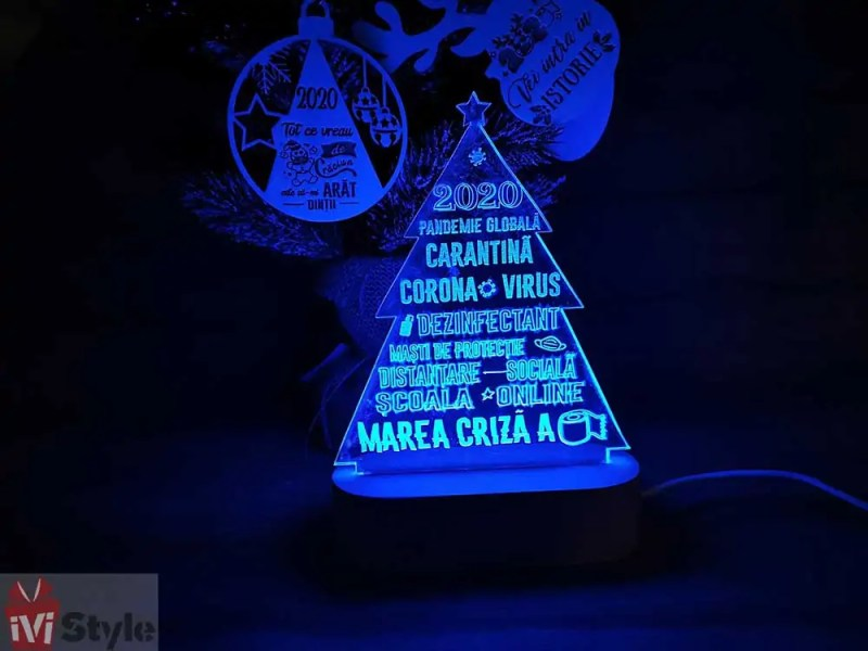 Lampa LED cu Baza de Lemn Bradut 2020 Covid albastru