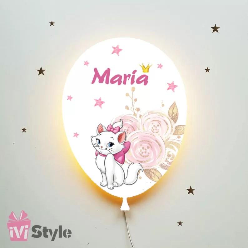 Lampa Personalizata LED Balon Pisicuta Marie Maria