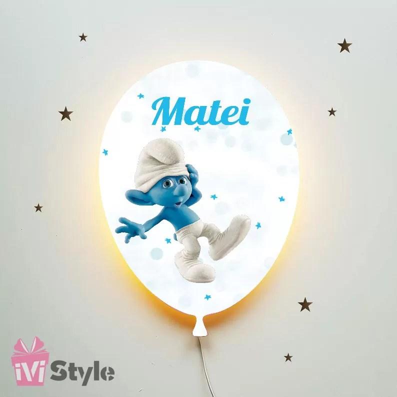 Lampa Personalizata LED Balon Strumfi Matei