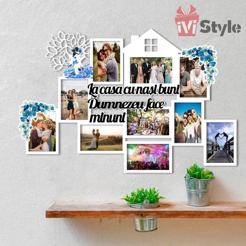 Rama Foto La Casa cu Nasi Buni Personalizata Casuta si Copacel Albastru