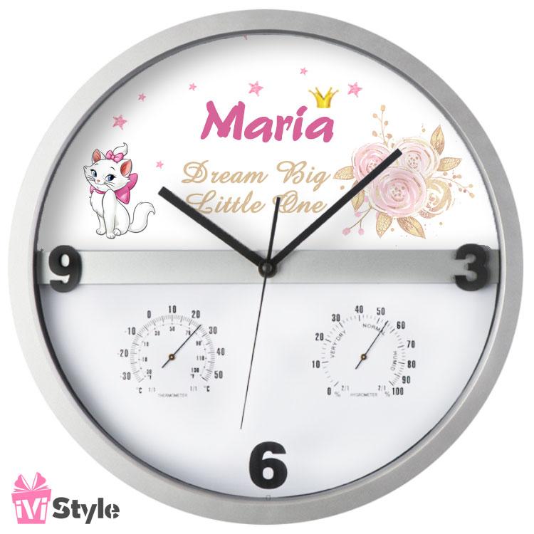 Ceas de Perete Temperatura si Umiditate Personalizat Marie 01