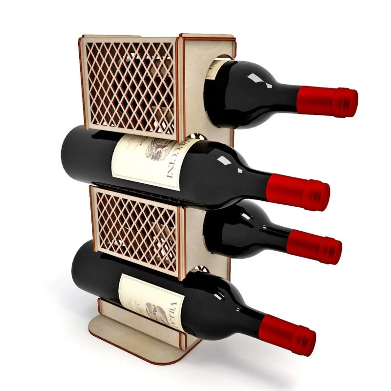 Suport din Lemn pentru 4 Sticle de Vin
