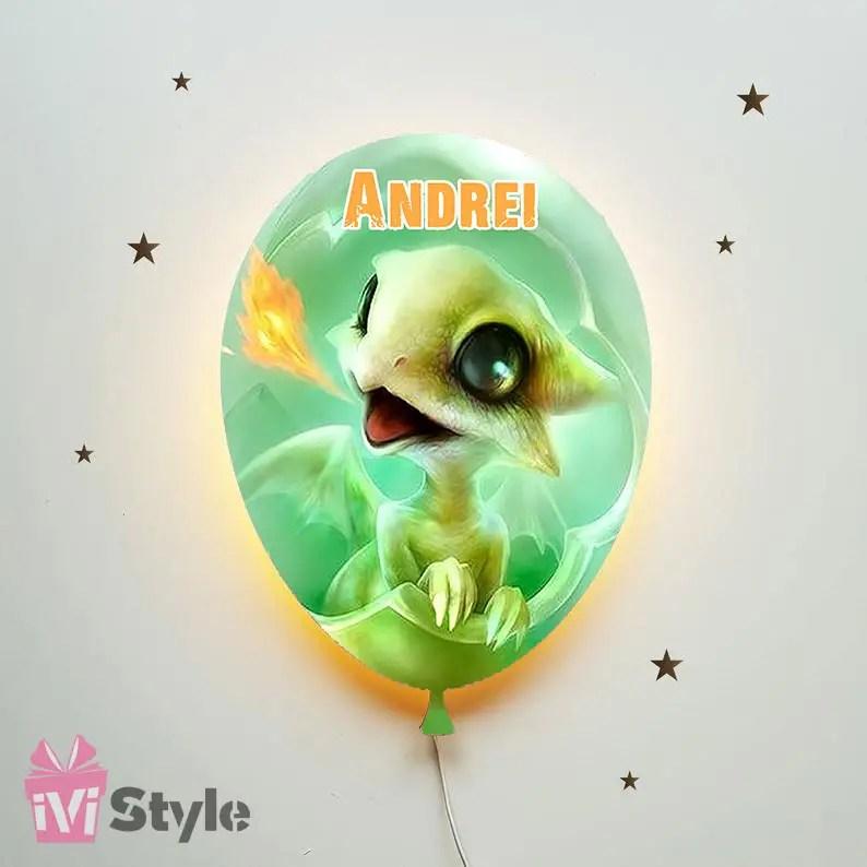 Lampa Personalizata LED Balon Dragon Baby Verde