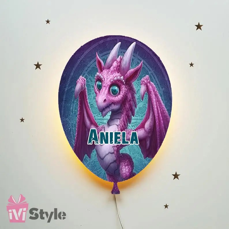 Lampa Personalizata LED Balon Dragon Mov