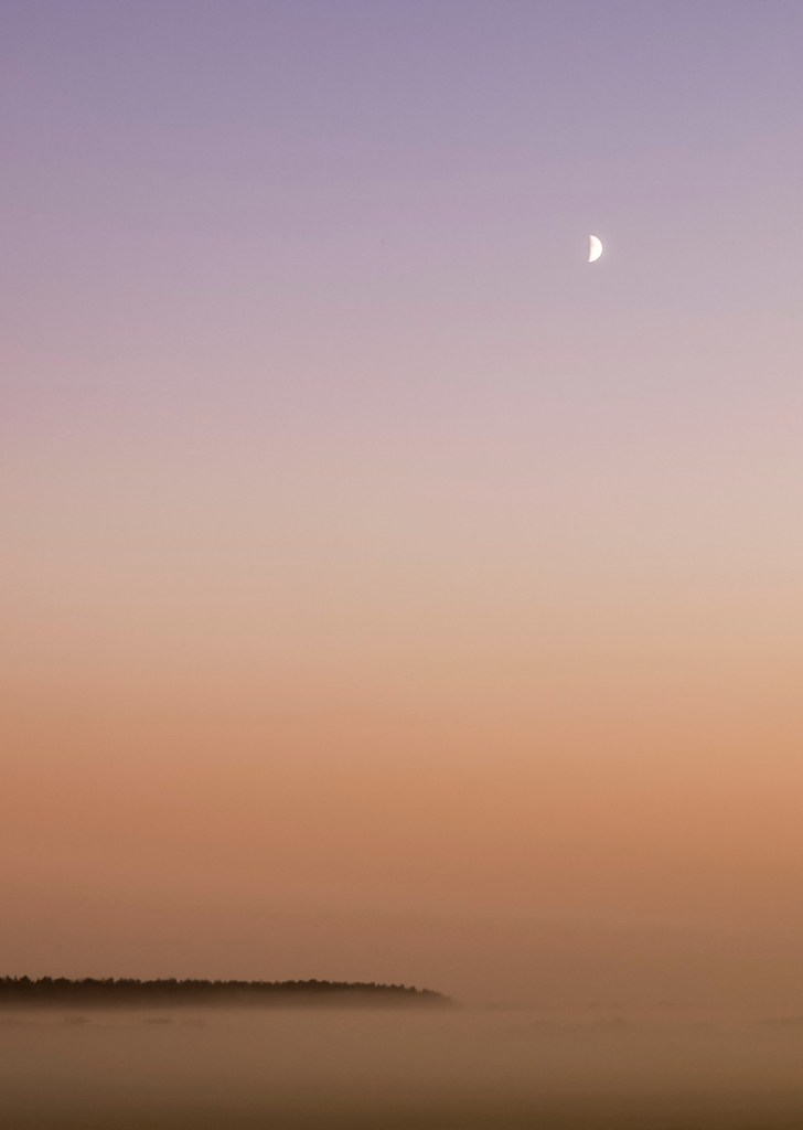 Moon over misty fields at sunset