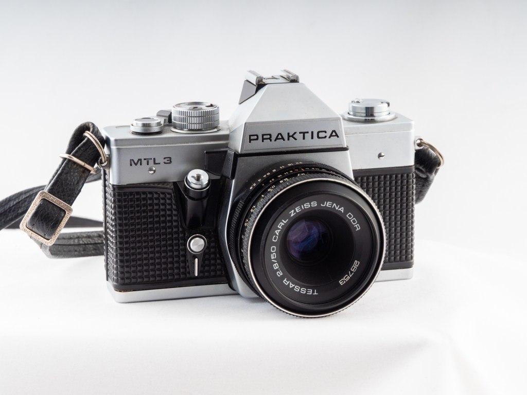 Praktica SLR camera with a legacy Zeiss lens