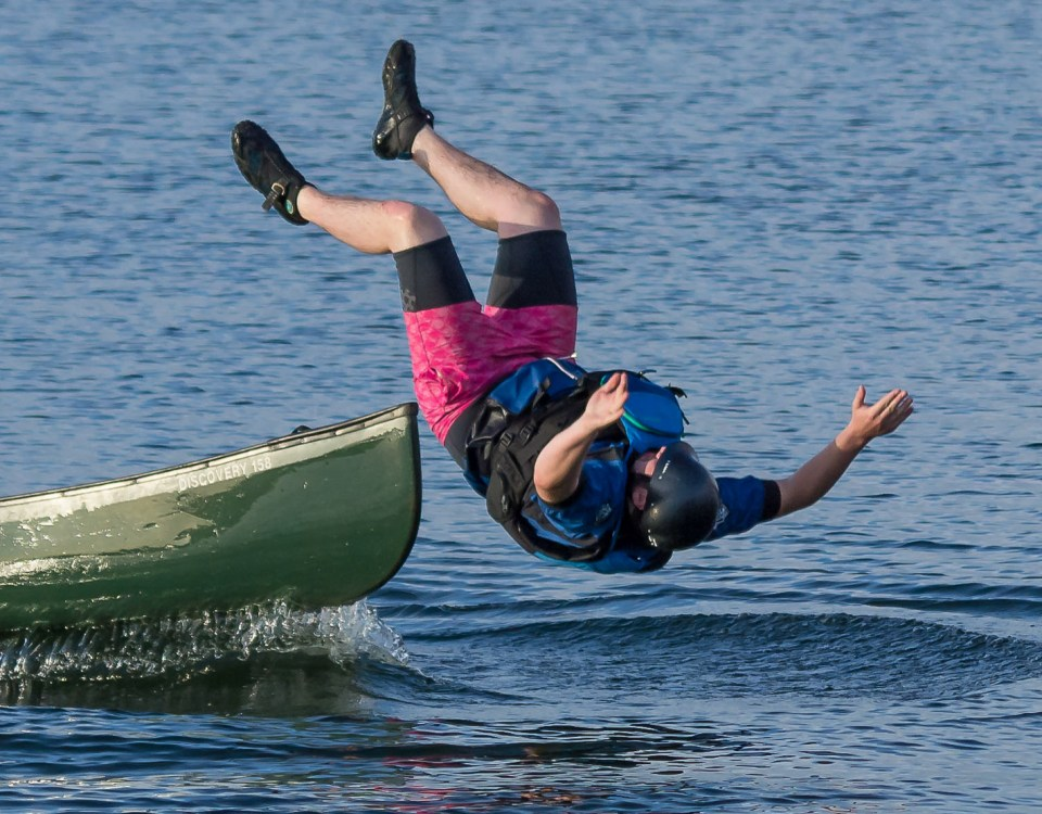 How Reliable is your Camera Brand? Man falling in water froma canoe.
