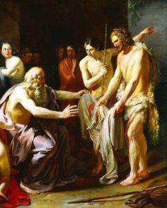 האחים מציגים ליעקב את כתונת יוסף הטבולה בדם שעיר עזים
