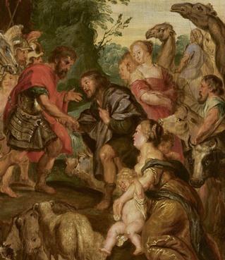 יעקב מתפייס עם עשו - בסיוע צאן, בקר, וגמל שנדחף לפריים...